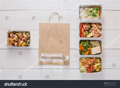 proportion cuisine healthy food delivery take away stock photo