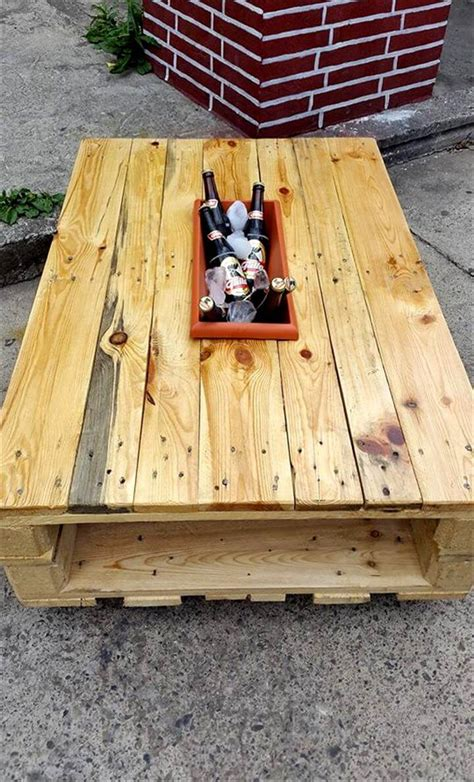 Pallet Coffee Table With Ice Box  101 Pallets