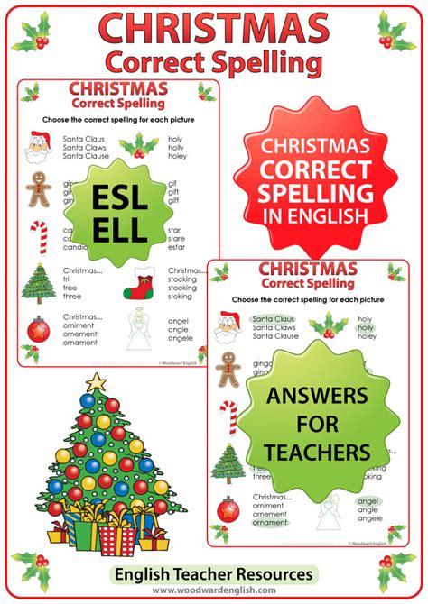 christmas english spelling worksheet woodward english