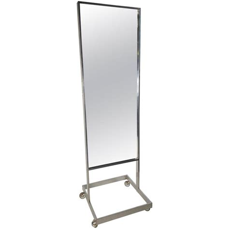 floor mirror on sale modernist aluminum standing floor mirror cheval milo baughman for sale at 1stdibs