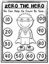 Math Zero Hero Tens Counting Count Kindergarten Coloring Student Activities Pages Poster Helper 100th 10s Preschool Superhero Numbers Number Copies sketch template