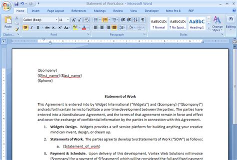 Contract Sow Template by Create A Statement Of Work Contract From Salesforce Webmerge