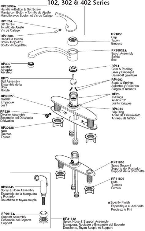 Kitchen Faucet Parts Diagram by Faucets Kitchen Delta Faucets Parts Rp44647 Illustrated