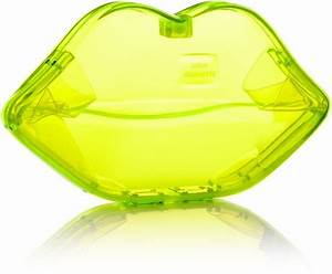 Lulu Guinness Neon Yellow Perspex Lips Clutch in Yellow