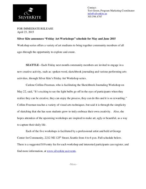 Press Release Sample For Silver Kite Community Arts
