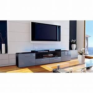 Meuble Gris Laqué : meuble tv design noir mat et gris laqu avec led 194 cm achat vente meuble tv meuble tv ~ Nature-et-papiers.com Idées de Décoration
