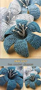 3d Teal Lily  Free Crochet Diagram