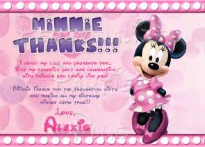 personalized birthday plate minnie mouse thank you cards