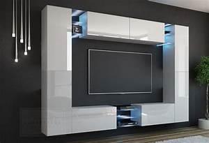 Hängeschrank Weiß Hochglanz Wohnzimmer : kaufexpert wohnwand kino wei hochglanz wei mediawand medienwand design modern led ~ Markanthonyermac.com Haus und Dekorationen