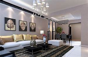 Gray living dining room interior design by pastoral style for Interior design living room dining room home reveal