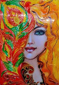 Buy, Glass, Painting, Of, Lady, Painting, At, Lowest, Price, By, Asmita, Chatterjee
