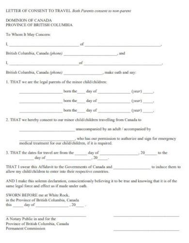 travel consent letter templates   premium
