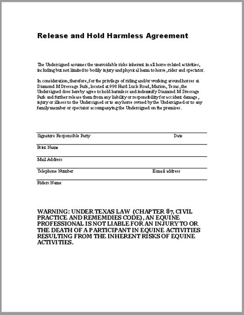 Hold Harmless Waiver Template by 43 Free Hold Harmless Agreement Templates Ms Word And
