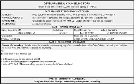 Initial Counseling Template by Any Advice For Writing Counselings Rallypoint