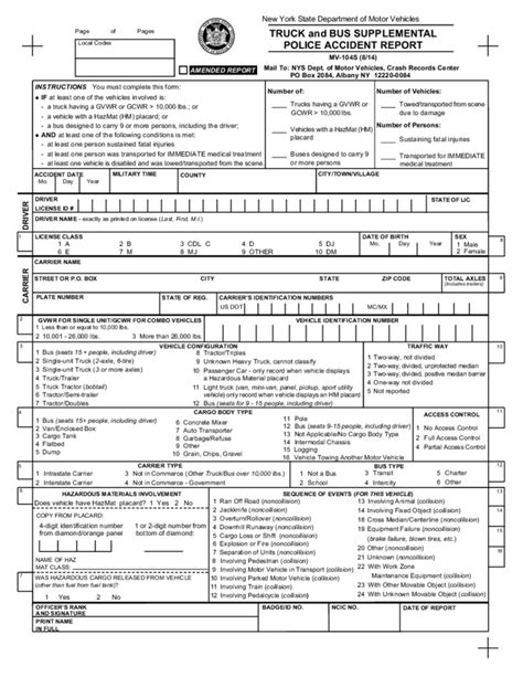 Truck Driver Accident Report Form Template by Form Mv 104s Truck And Bus Supplemental Police Accident