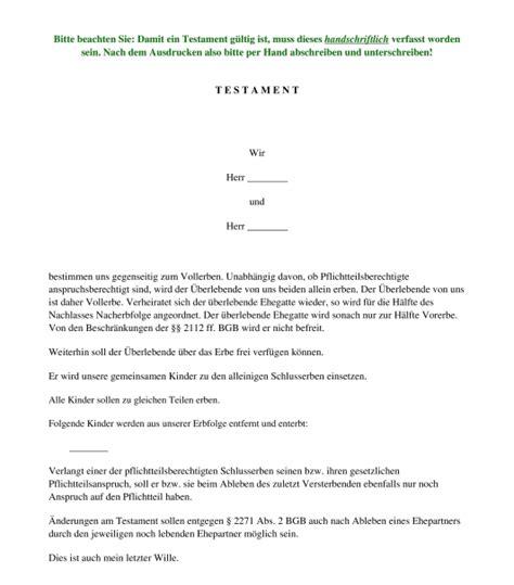 berliner testament muster vorlage word und