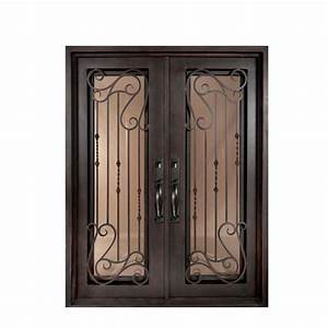 iron doors unlimited 62 in x 82 in armonia classic full With bronze entry doors