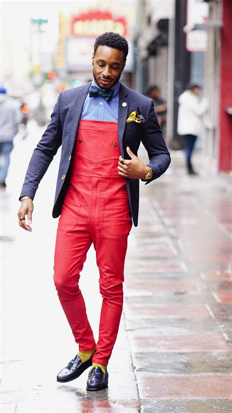 diy fire red overalls sports coat bow tie norris danta ford
