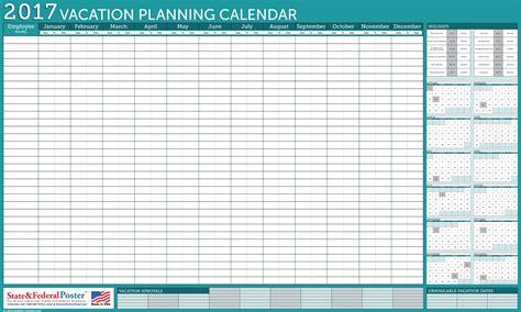 vacation calendar template 2017 employee vacation calendar template printable 2017 autos post