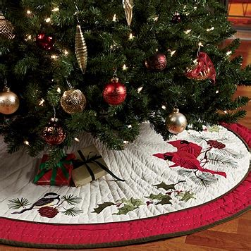 quilted tree skirt songbird tree skirt orvis uk - Xmas Tree Skirts Uk