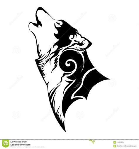 tete de loup  tatouage tribal dhurlement illustration