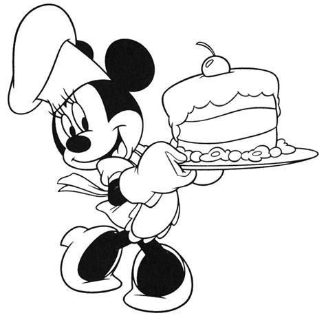 minnie mouse birthday cake coloring page printable