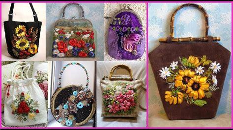 stylish silk ribbon work embroidery design ideas  purse
