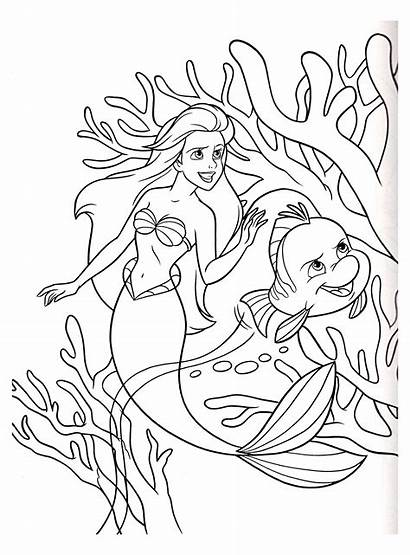 Mermaid Coloring Pages Children Disney