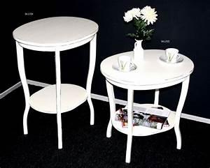 Beistelltisch Weiß Vintage : beistelltisch oval 58x57x48cm pappel massiv wei antik lackiert ~ Yasmunasinghe.com Haus und Dekorationen