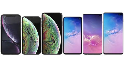 samsung galaxy s10e s10 and s10 plus vs iphone xr xs and xs max