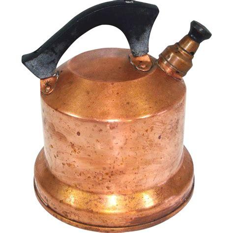 west bend  whistling copper tea kettle  rubylane sold  ruby lane