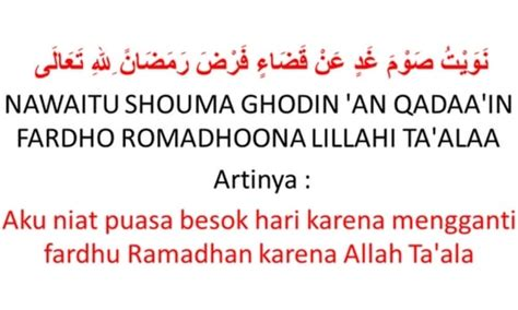 lafaz niat ganti puasa ramadhan qada  fidyah