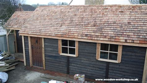 pitched roof timber garage  wooden workshop oakford