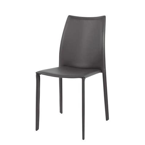 chaise cuir gris chaise en cuir recyclé et bois grise klint maisons du monde
