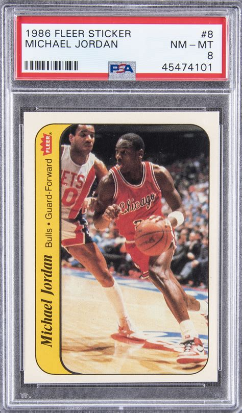 At the end of the day, depending on your stance on the sports, it's pretty with that in mind, michael jordan rookie cards are worth tens of thousands of dollars. Lot Detail - 1986/87 Fleer Stickers #8 Michael Jordan Rookie Card - PSA NM-MT 8