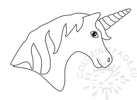 printable unicorn head  rainbow horn coloring page
