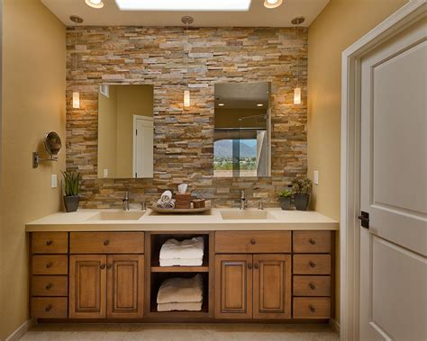 stacked stone tile Bathroom Contemporary with beige stone