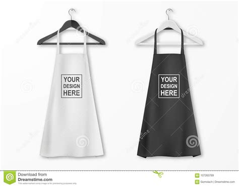 Vector White And Black Cotton Kitchen Apron Set With