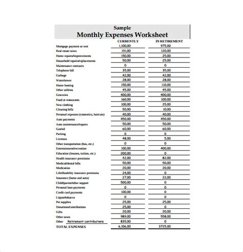 expense sheet template  excel documents