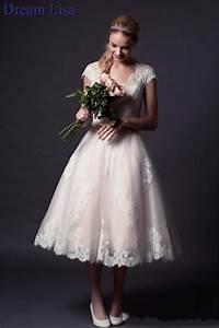 2015 tea length wedding dresses lace appliques bridal With cheap tea length wedding dresses