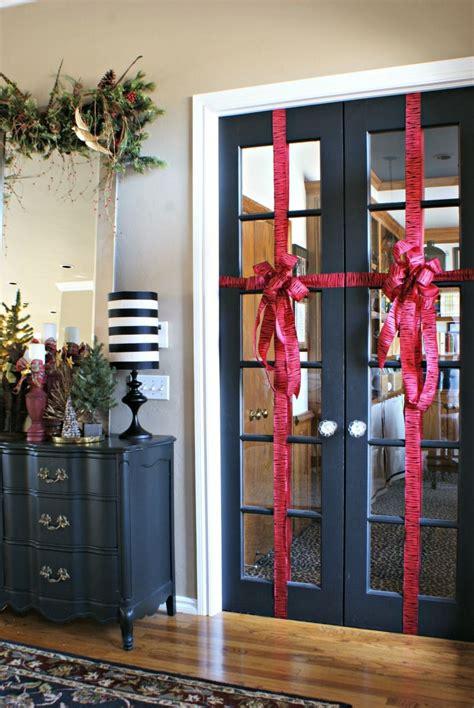 wrap french doors  ribbon  christmas  house