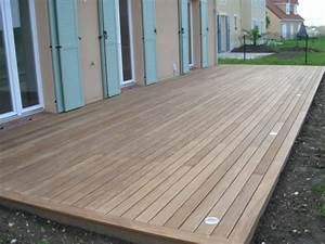 terrasse en bois au ras du sol decaissement pour l39implanter With pose de lame de terrasse