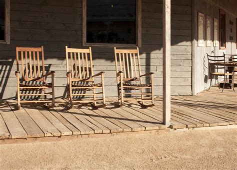 western town rocking chairs royalty  stock