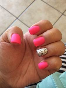 Mey did my nails today! Hot pink with matte topcoat and a ...