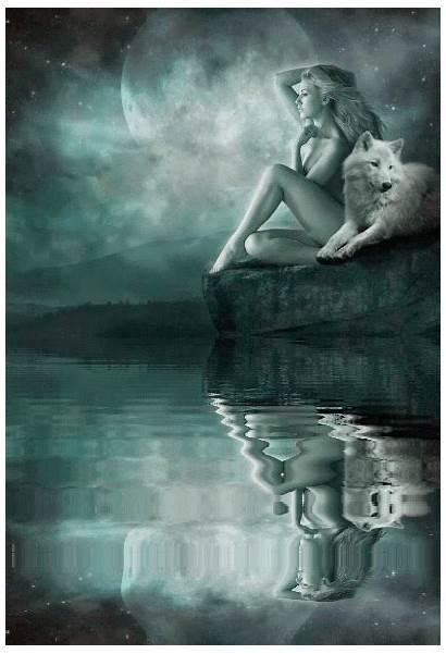 Wolf Wolves Spirit Fantasy Lobo Reflection Female