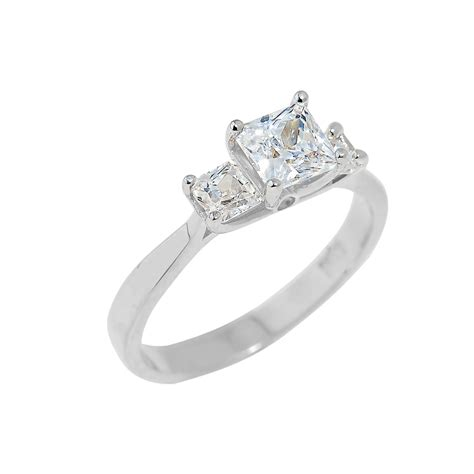 white gold princess cut wedding rings white gold princess cut engagement ring with cz 1333