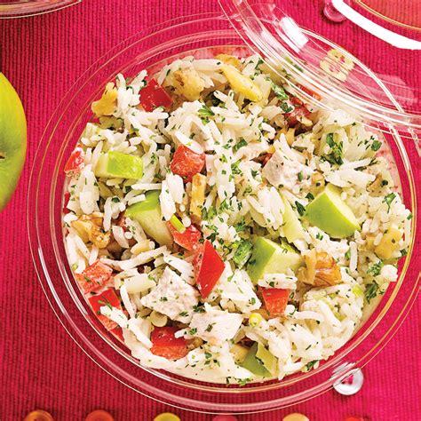 cuisine salade de riz salade de riz au poulet pommes et noix recettes cuisine et nutrition pratico pratique