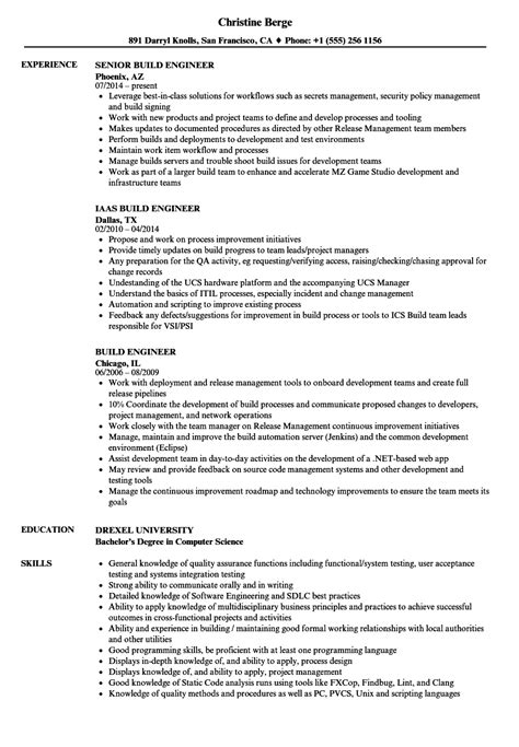 Build Engineer Resume by Mechanical Engineer Midlevel Build Resume Eezeecommerce