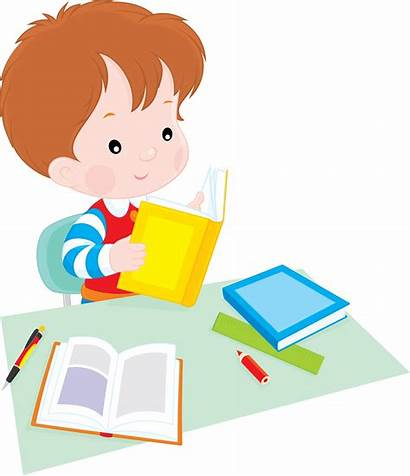 Student Clipart Reading Cartoon Clip Homework Background