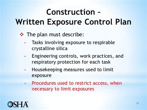 osha silica exposure plan template exposure plan template osha powerpoint silica
